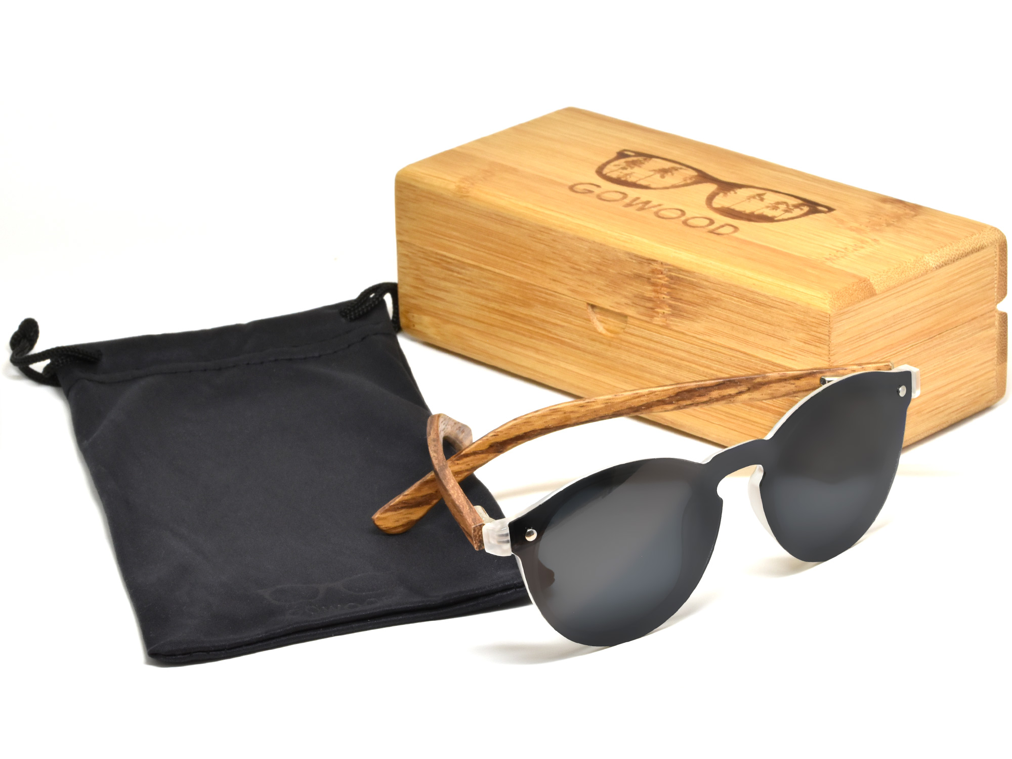 Round zebra wood sunglasses with dark grey polarized lens
