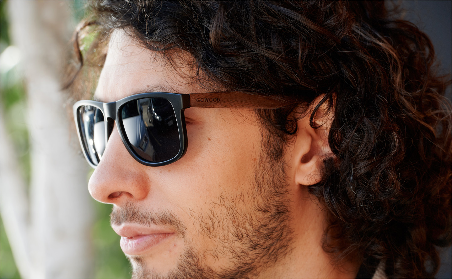 Square wood sunglasses