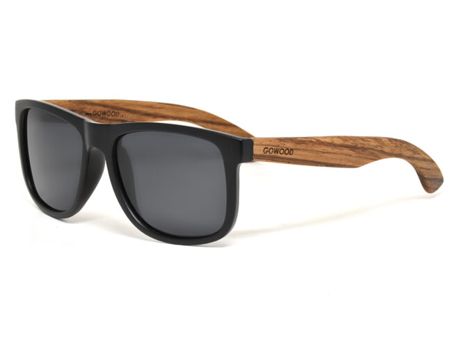 Square zebra wood sunglasses with black polarized lenses