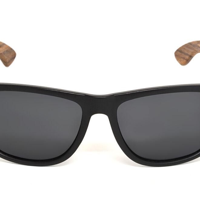 Square zebra wood sunglasses with black polarized lenses