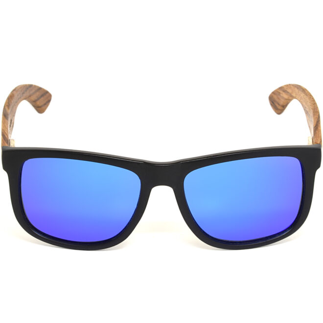 Square zebra wood sunglasses blue mirrored polarized lenses acetate front