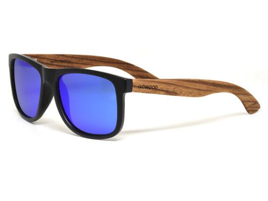 Lunettes de soleil carrées en bois de zèbre avec verres miroir bleu polarisés