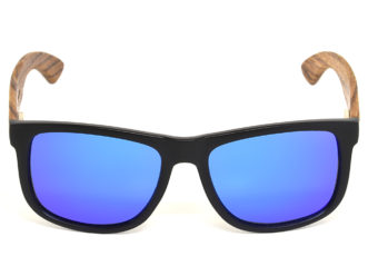 Square zebra wood sunglasses with blue mirrored polarized lenses