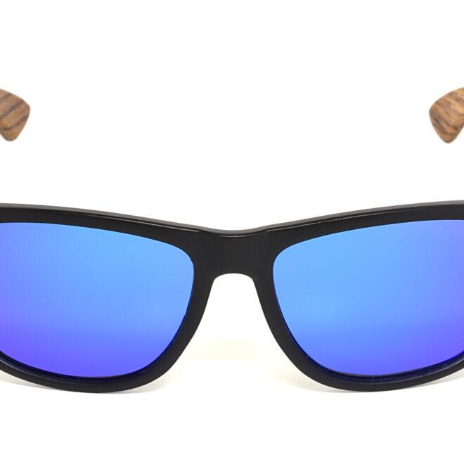 Square zebra wood sunglasses with blue mirrored polarized lenses