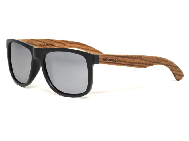 Square zebra wood sunglasses with silver mirrored polarized lenses