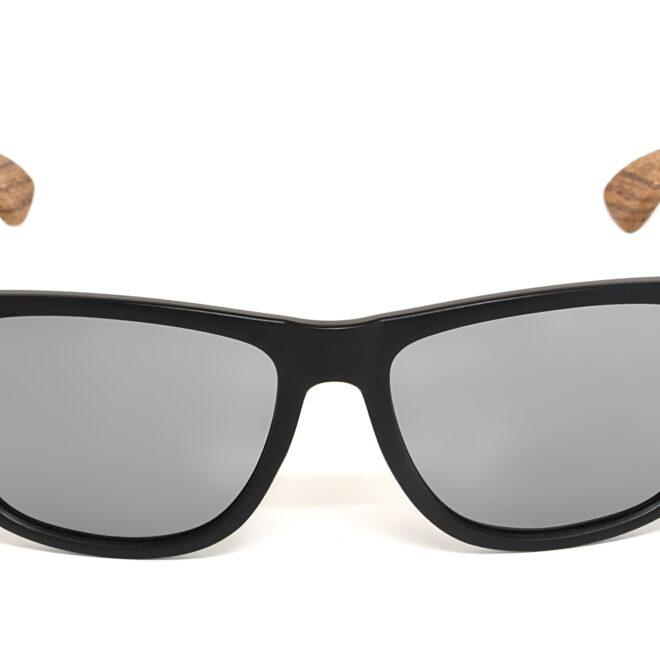Square zebra wood sunglasses with silver mirrored polarized lenses
