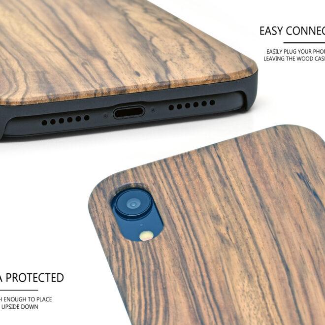 iPhone XR zebra wood case