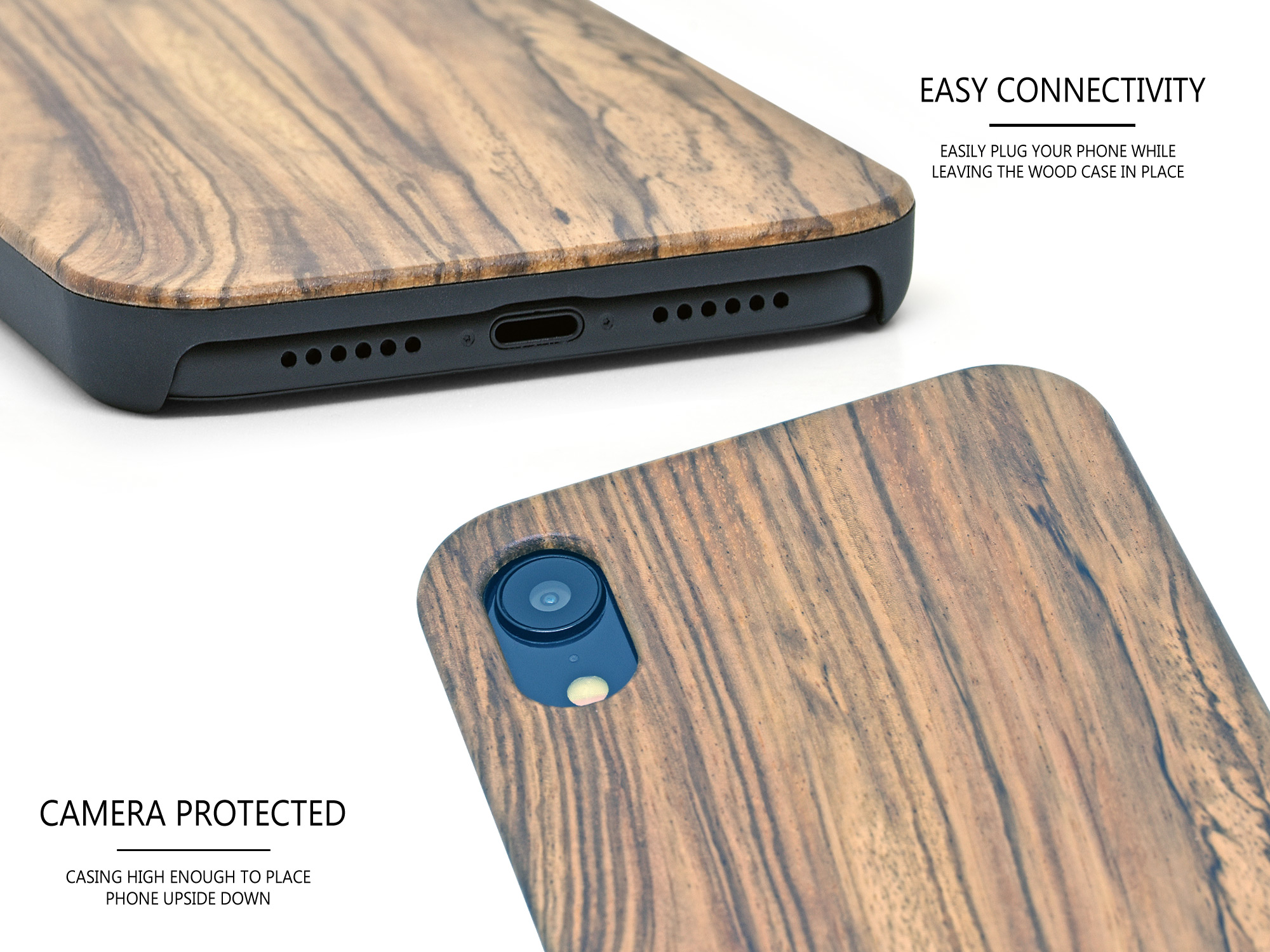 iPhone XR zebra wood case