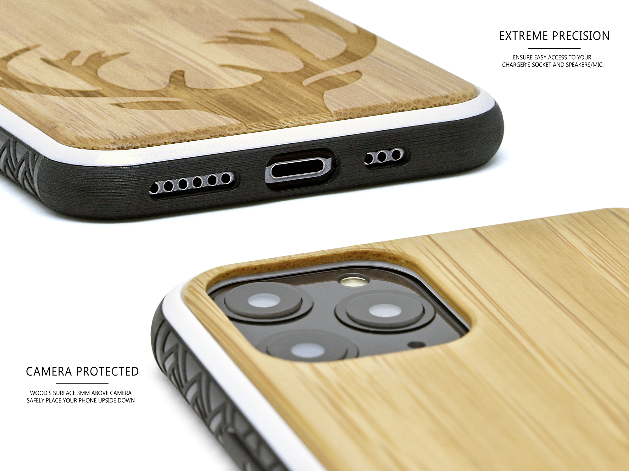 iPhone 11Pro wood case bamboo deer