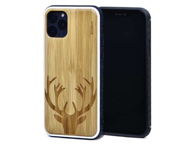 iPhone 11 Pro wood case bamboo deer front