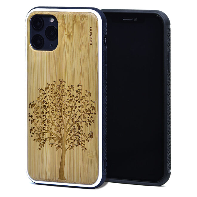 iPhone 11 Pro wood case bamboo tree front