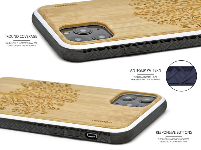 iPhone 11 wood case bamboo tree