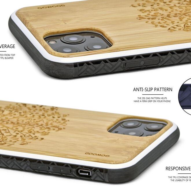 iPhone 11Pro wood case bamboo tree