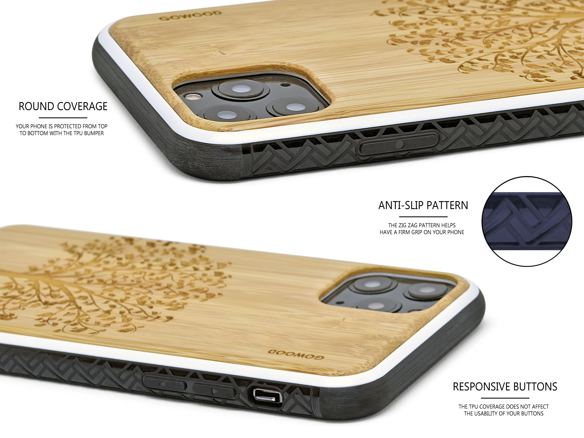 iPhone 11Pro wood case bamboo tree