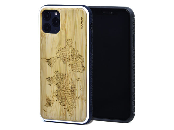 iPhone 11 Pro wood case bamboo world map front