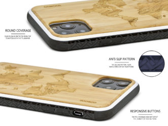 iPhone 11Pro wood case bamboo world map