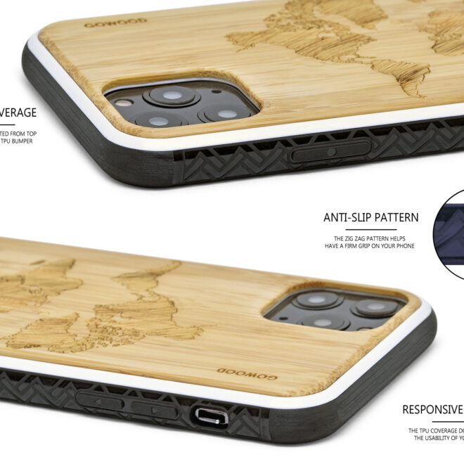 iPhone 11 Pro wood case bamboo world map
