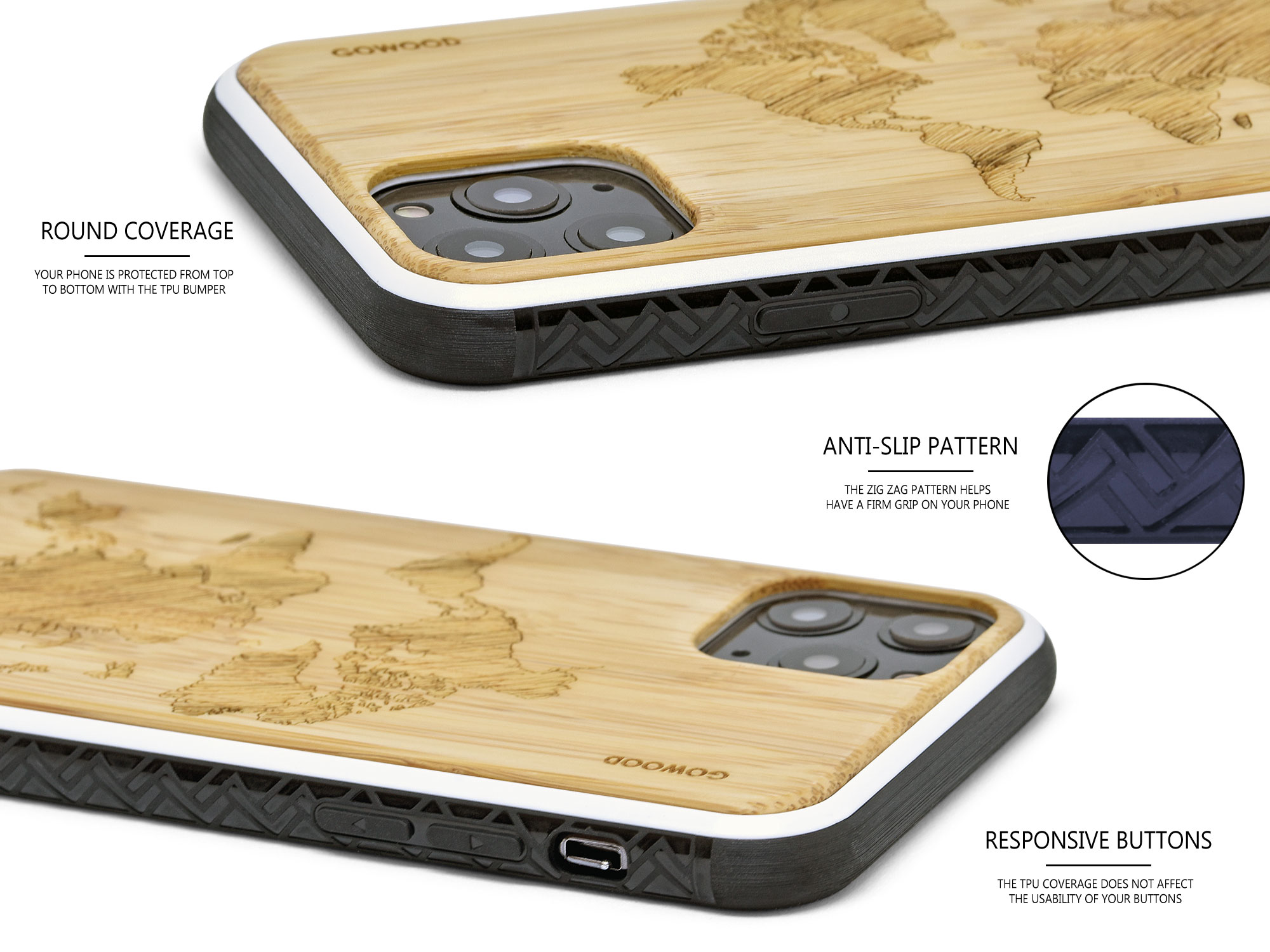 iPhone 11 Pro wood case bamboo world map
