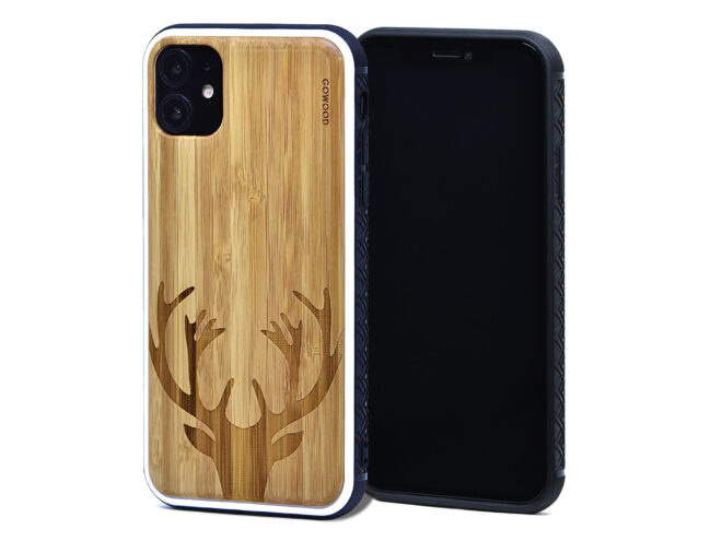 iPhone 11 wood cases bamboo deer front