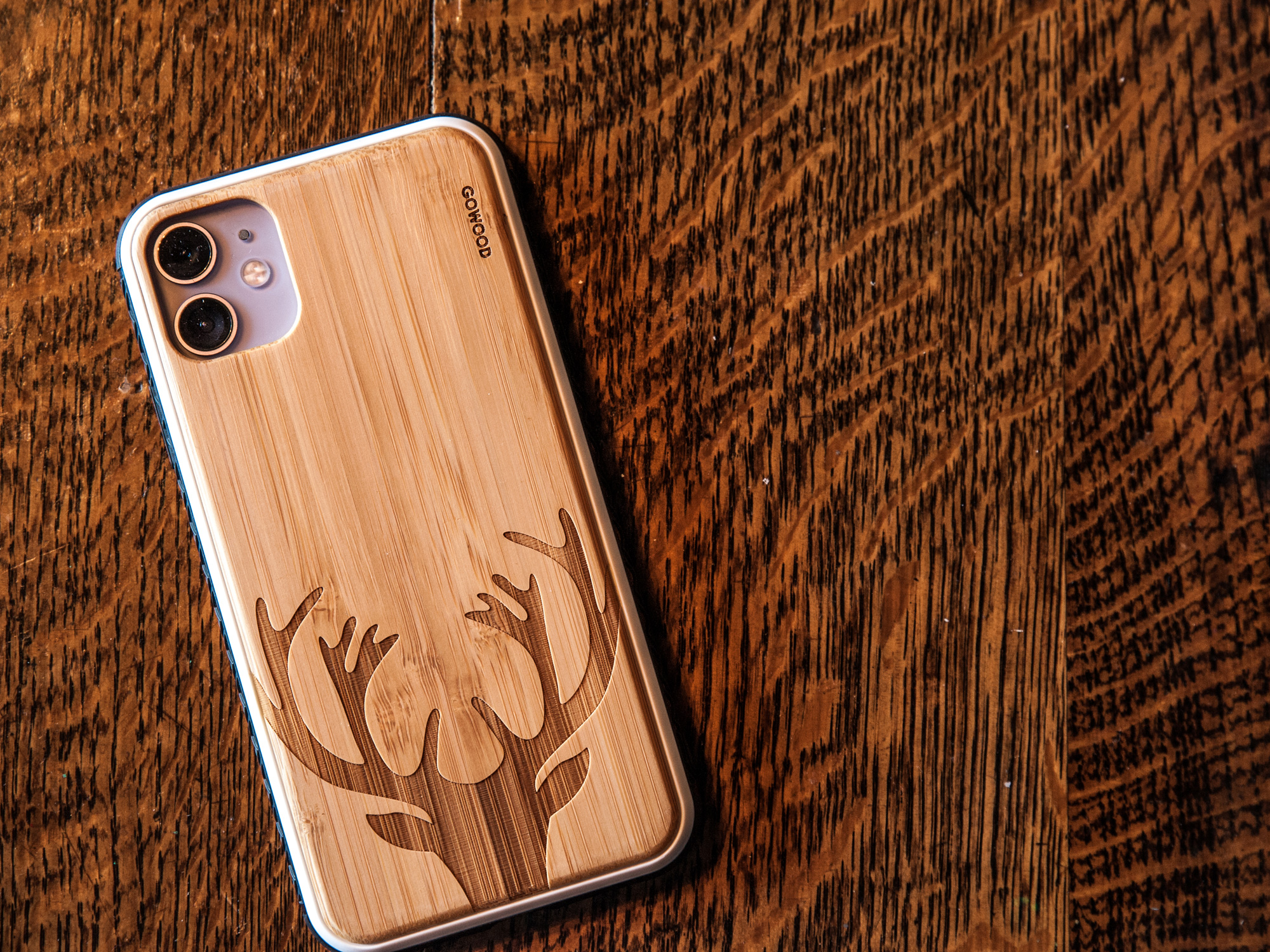 iPhone 11 wood case bamboo deer