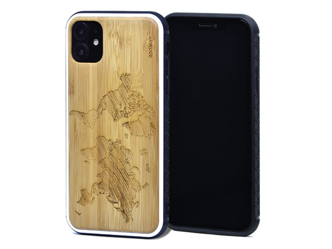 Étui iPhone 11 en bambou carte du monde
