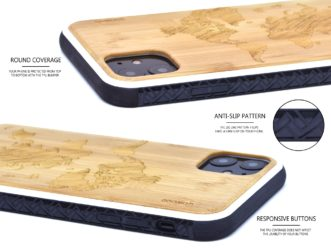 iPhone 11 wood case bamboo world map