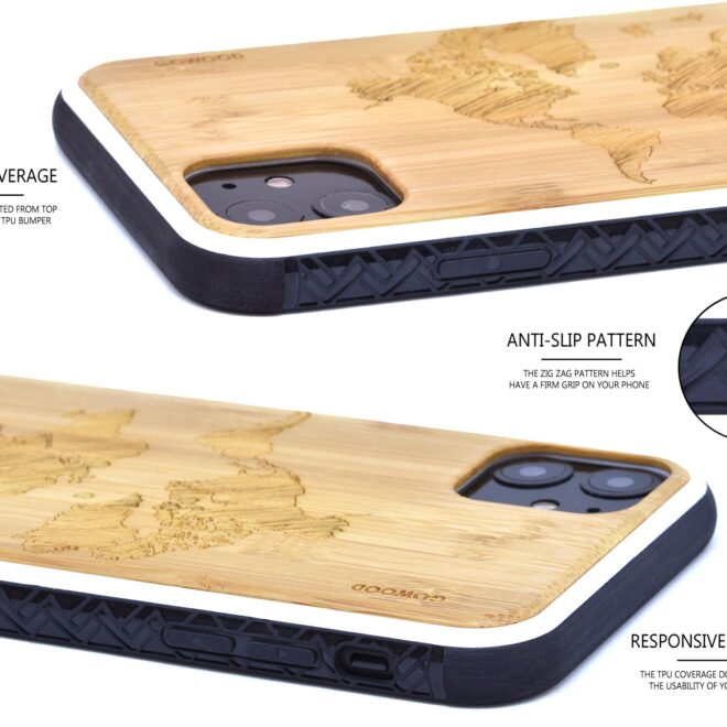 iPhone 11 wood case bamboo world map