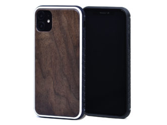 iPhone 11 wood case walnut front