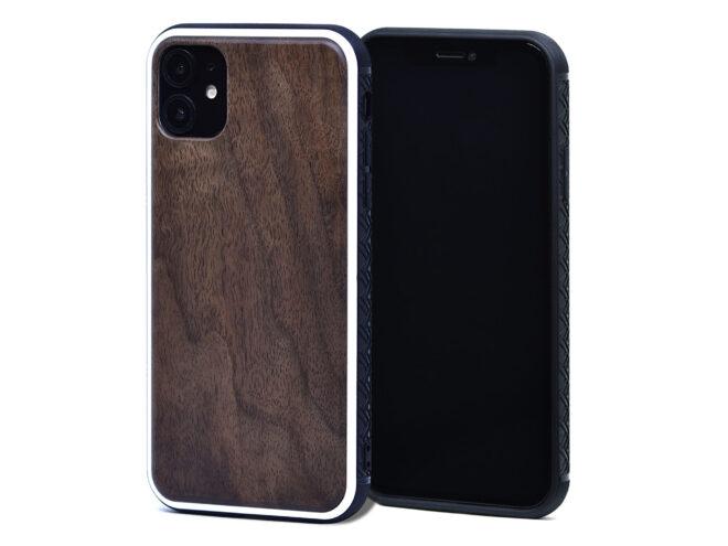 Étui iPhone 11 en bois de noyer