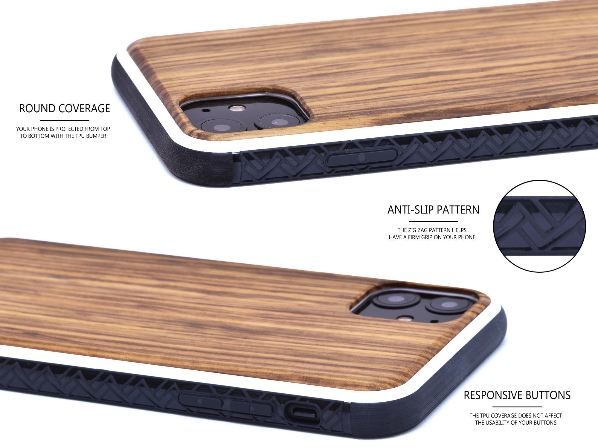 iPhone 11 wood case zebra