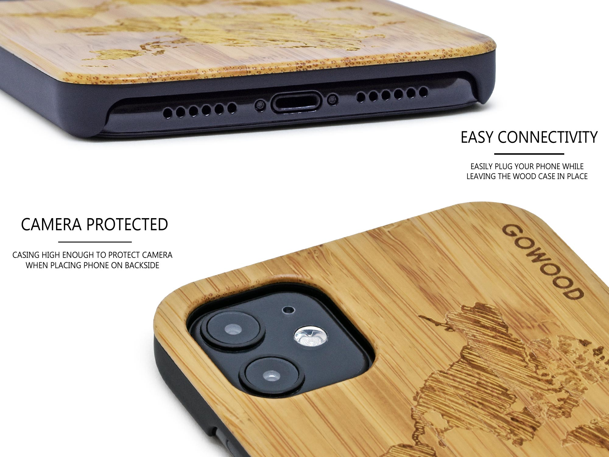 iPhone 11 wood case bamboo worldmap