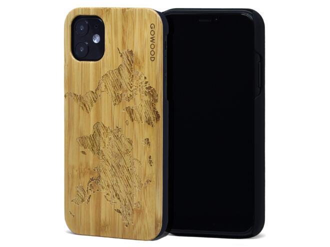 iPhone 11 wood case bamboo worldmap