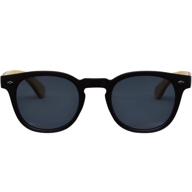 Round maple wood sunglasses black polarized lenses front