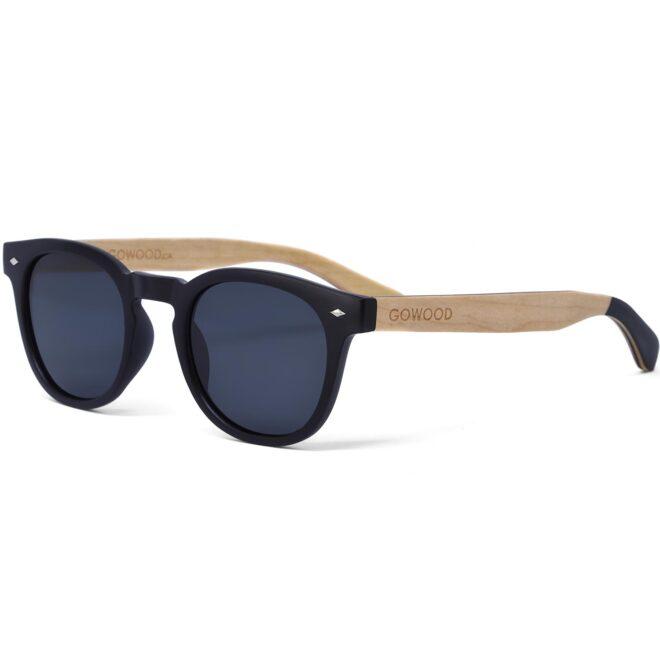 Round maple wood sunglasses with black polarized lenses