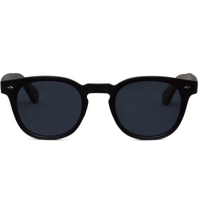 Round walnut wood sunglasses black polarized lenses front