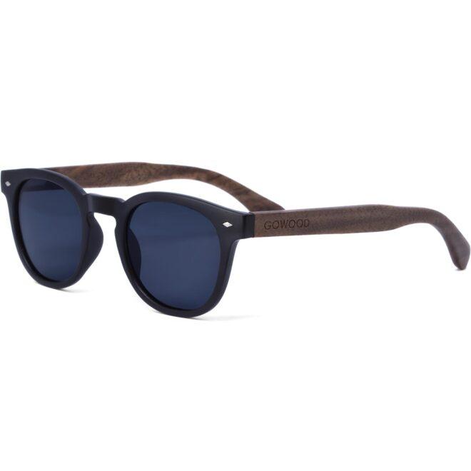 Round walnut wood sunglasses black polarized lenses