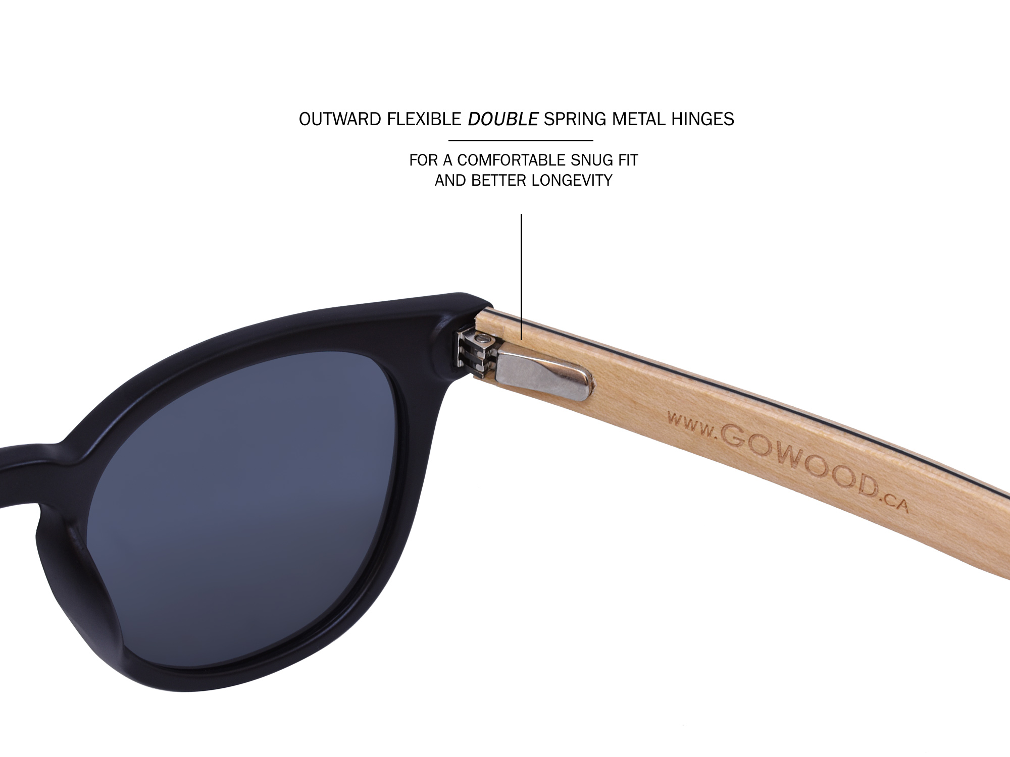 Round maple wood sunglasses hinge