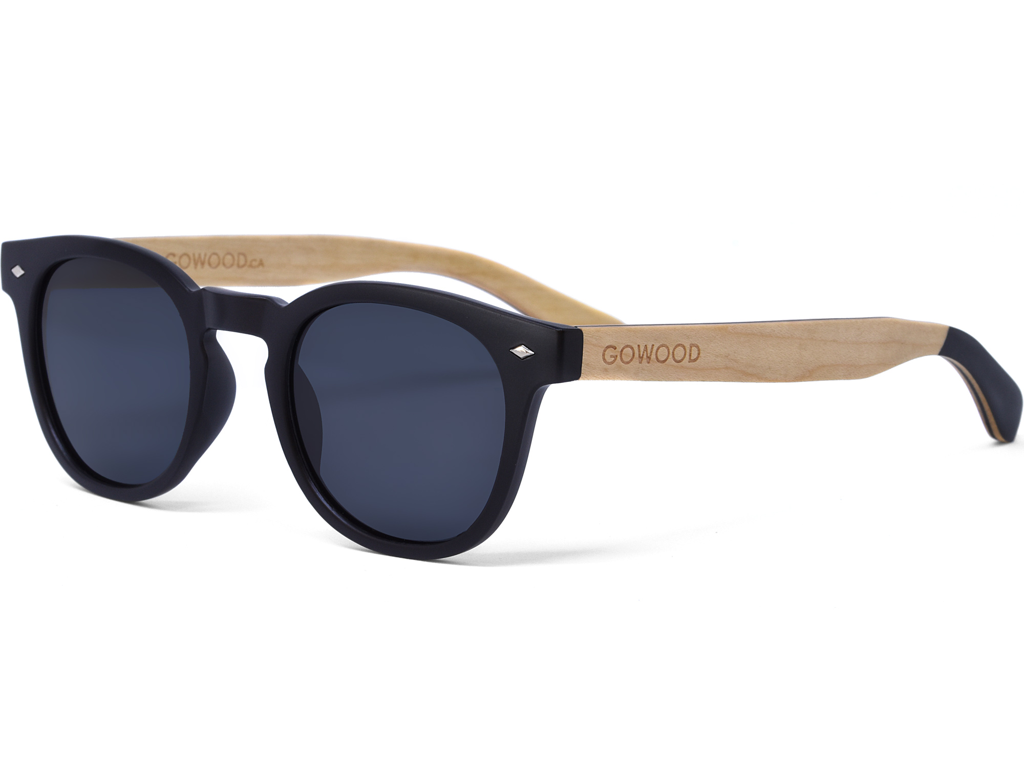 Round maple wood sunglasses left