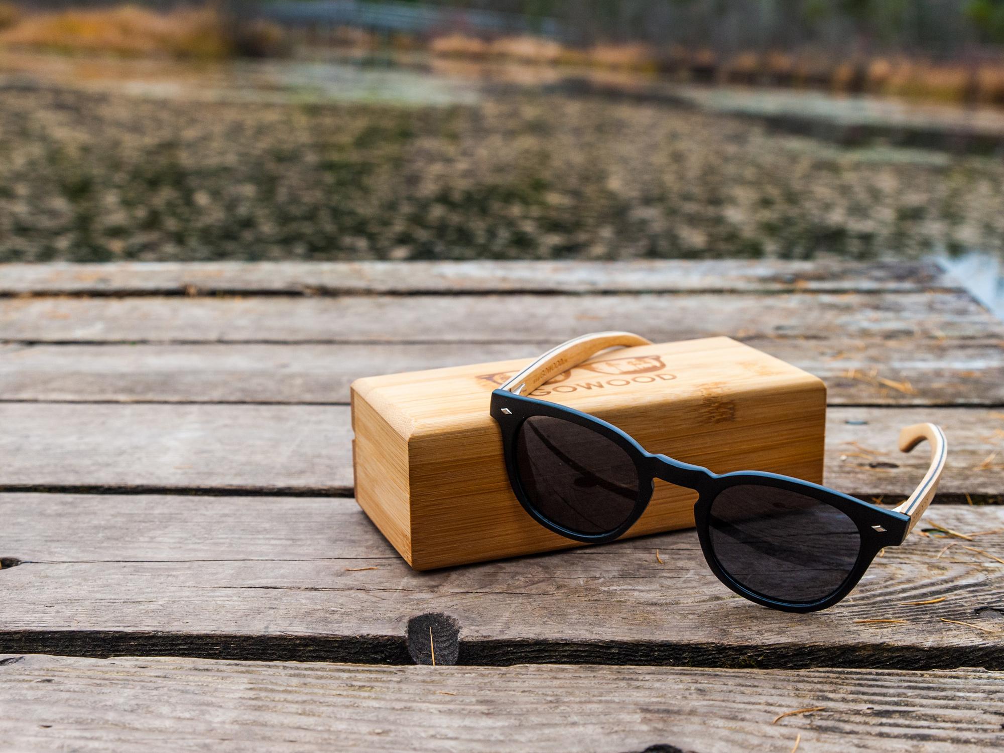 Lunettes de soleil rondes en bois d'érable