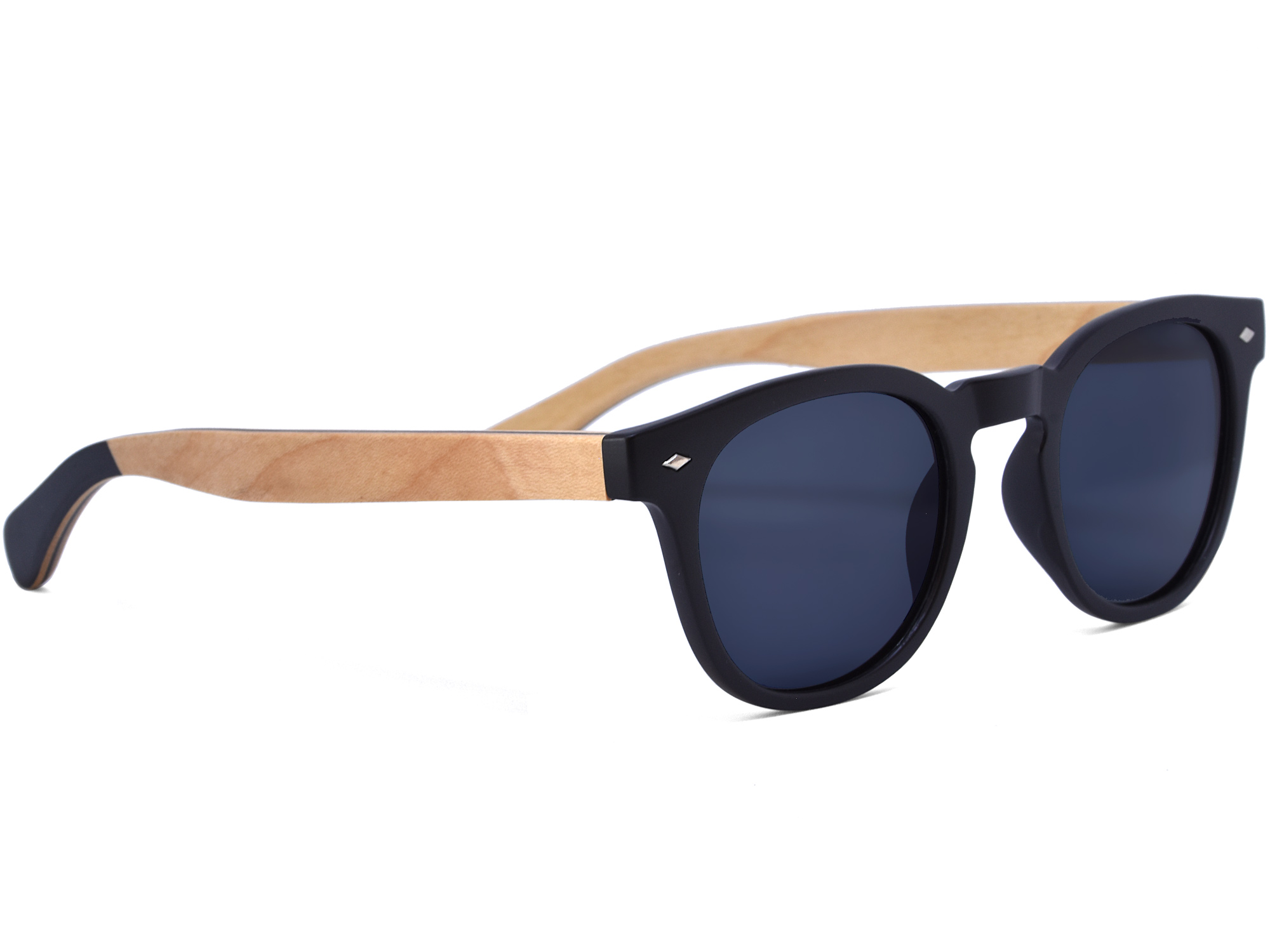 Round maple wood sunglasses right