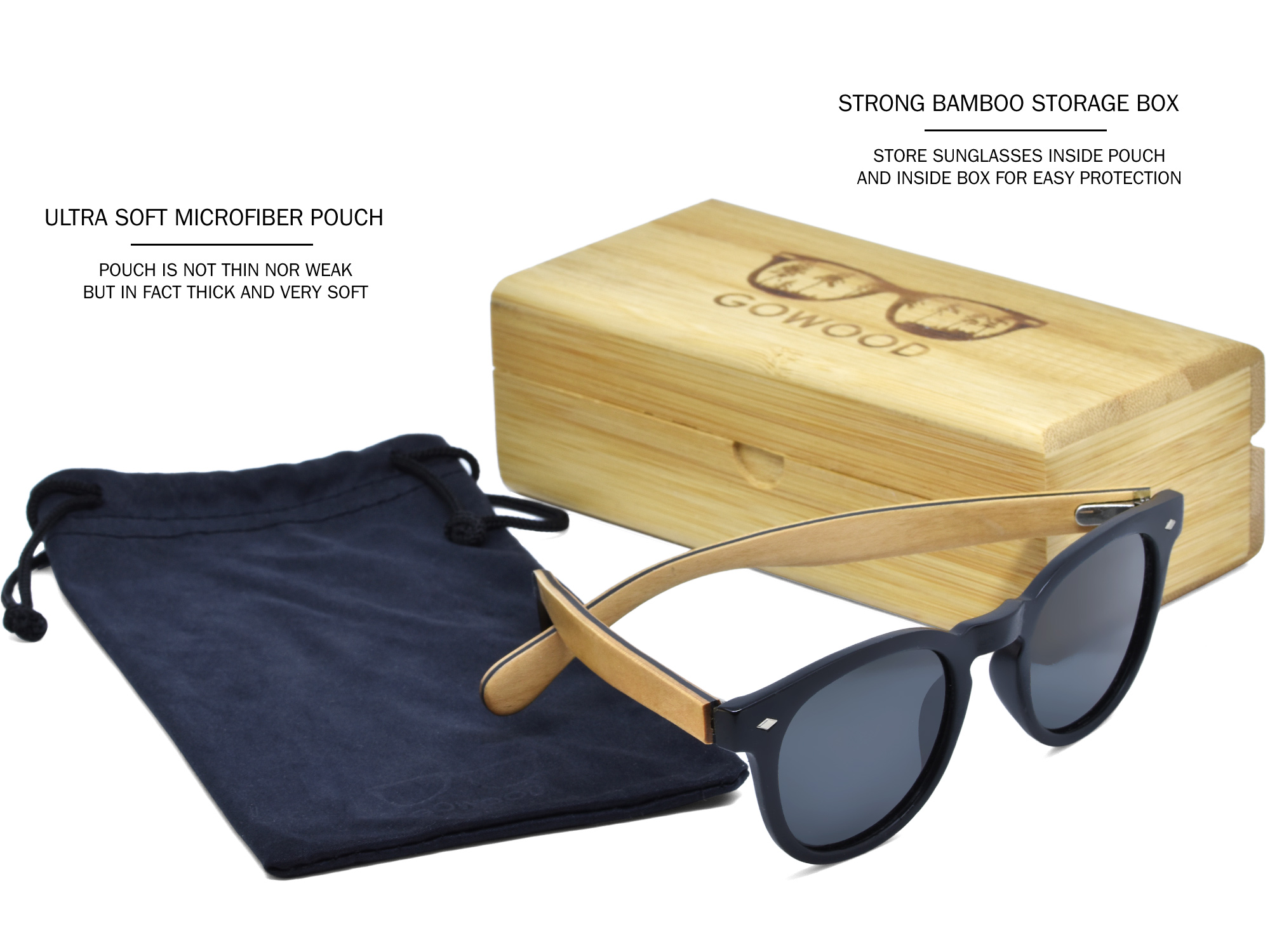 Round maple wood sunglasses set