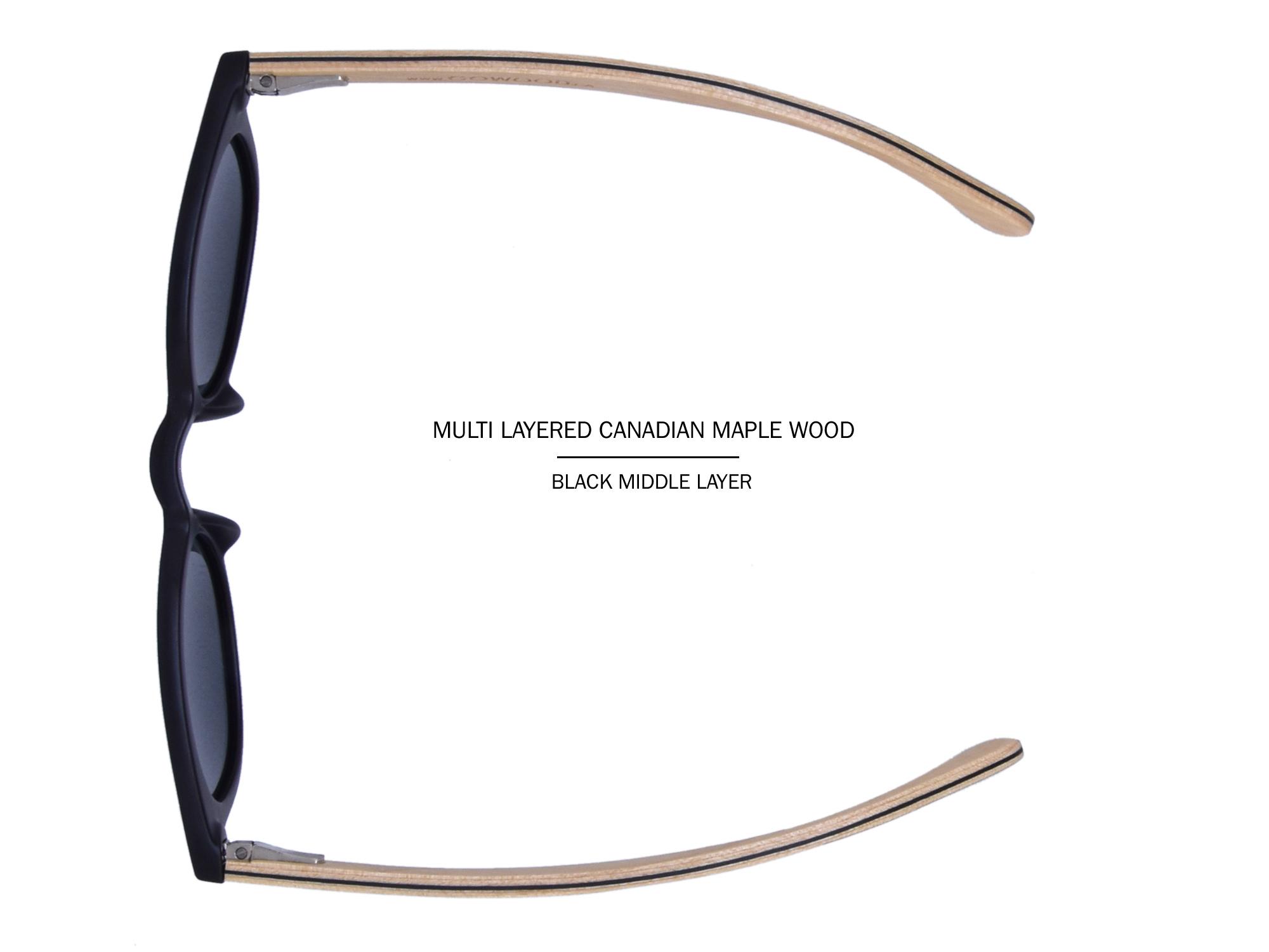 LB-Round maple wood sunglasses layered