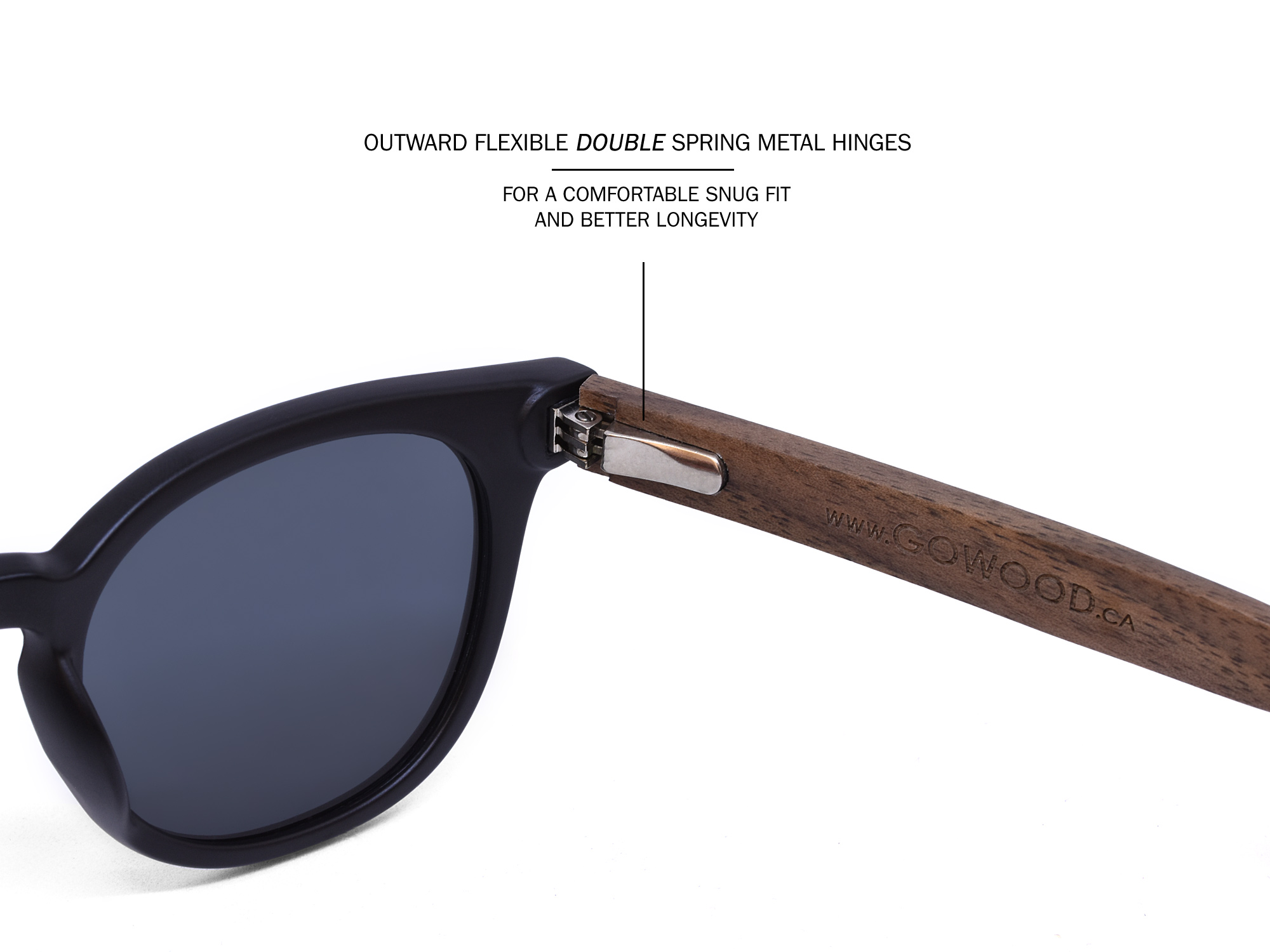 Round walnut wood sunglasses hinge
