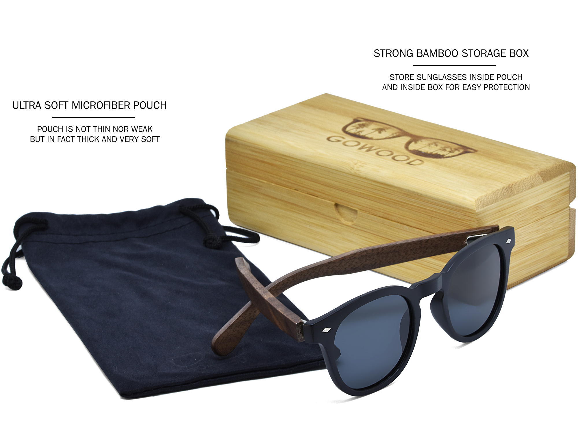 Round walnut wood sunglasses set