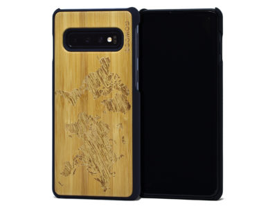 Samsung Galaxy S10 wood case bamboo worldmap