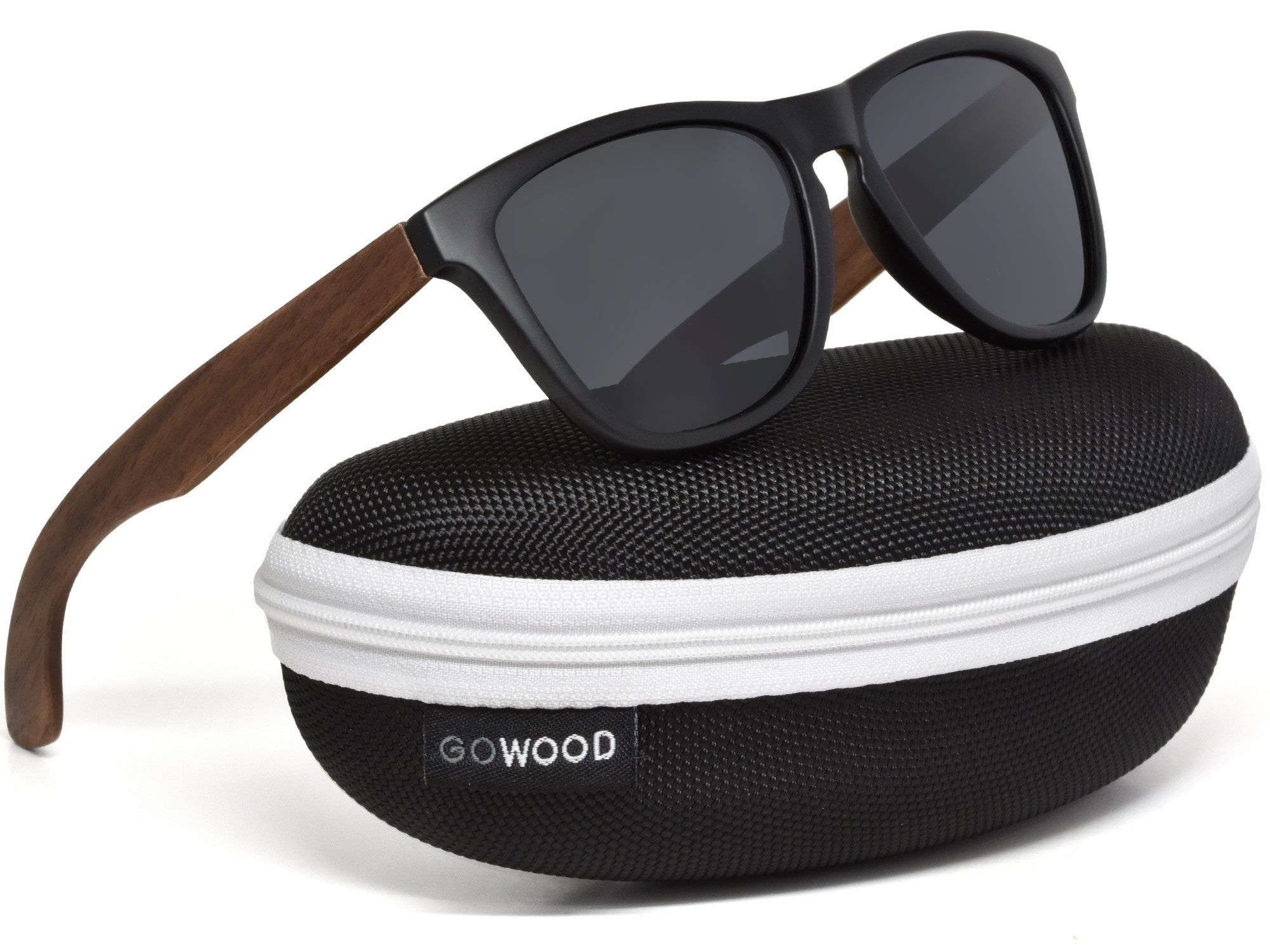 Classic walnut wood sunglasses with black polarized lenses in a zipper case