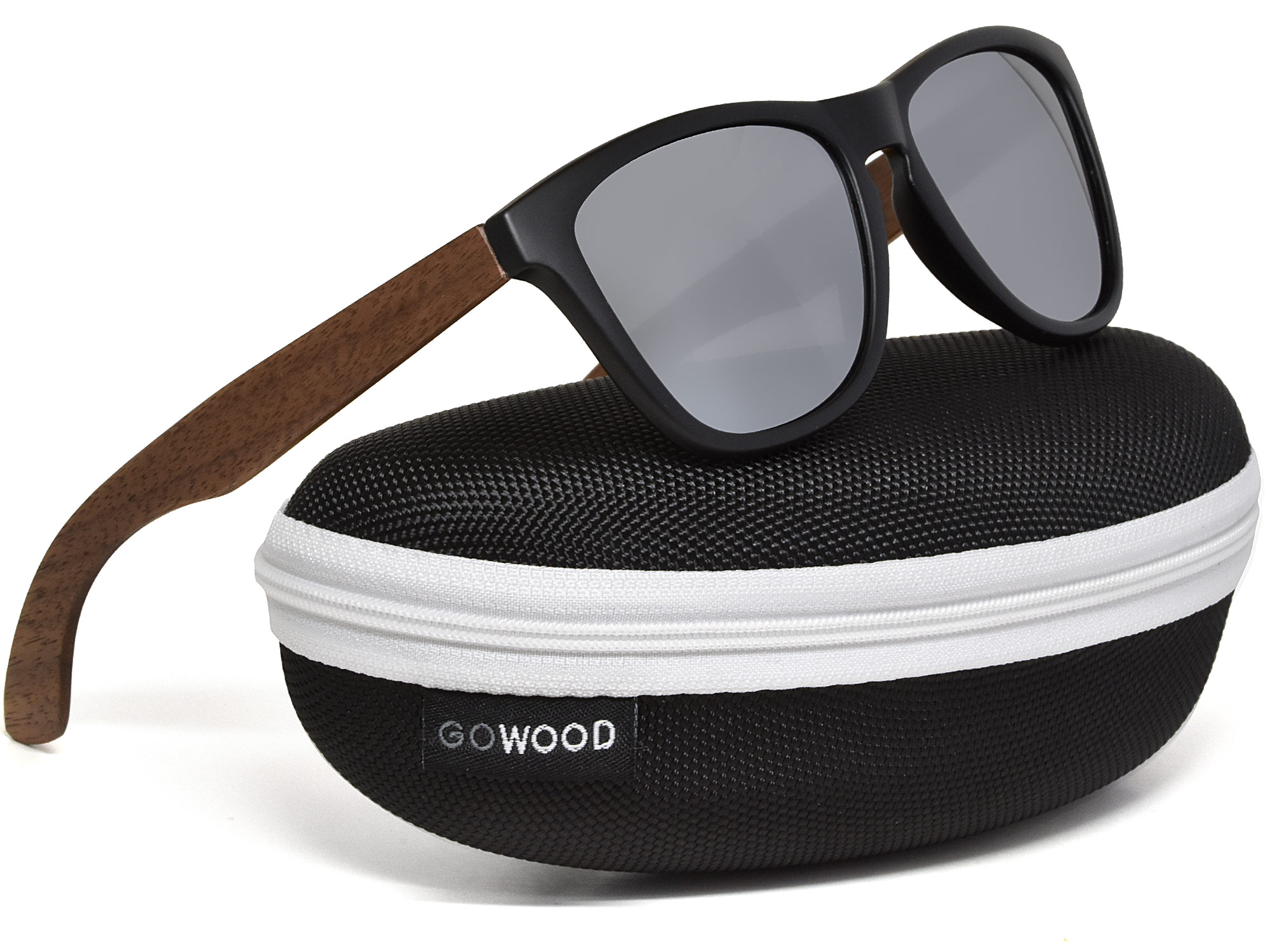 Classic walnut wood sunglasses with silver mirrored polarized lenses in a zipper case