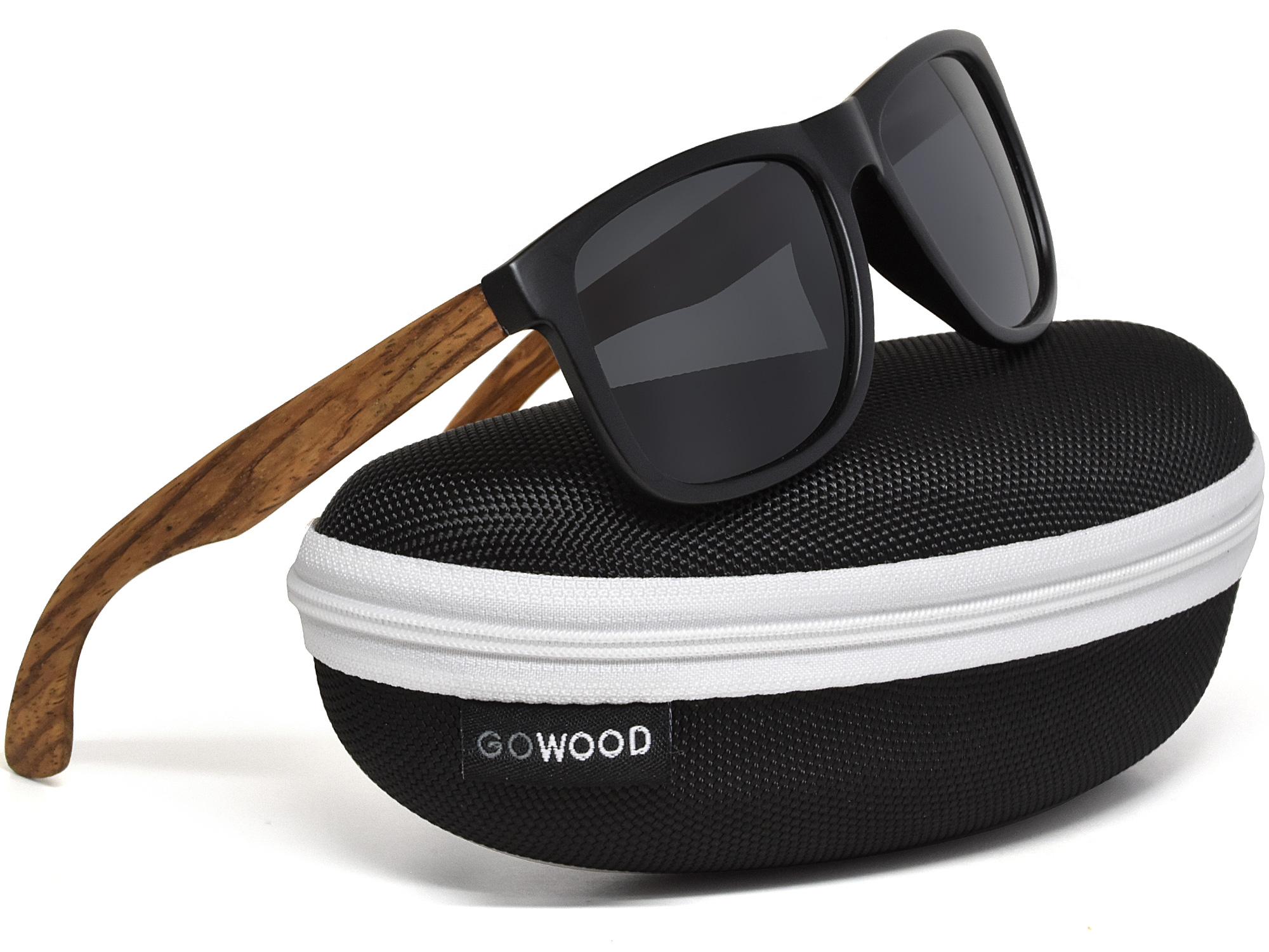 Square zebra wood sunglasses with black polarized lenses in  z