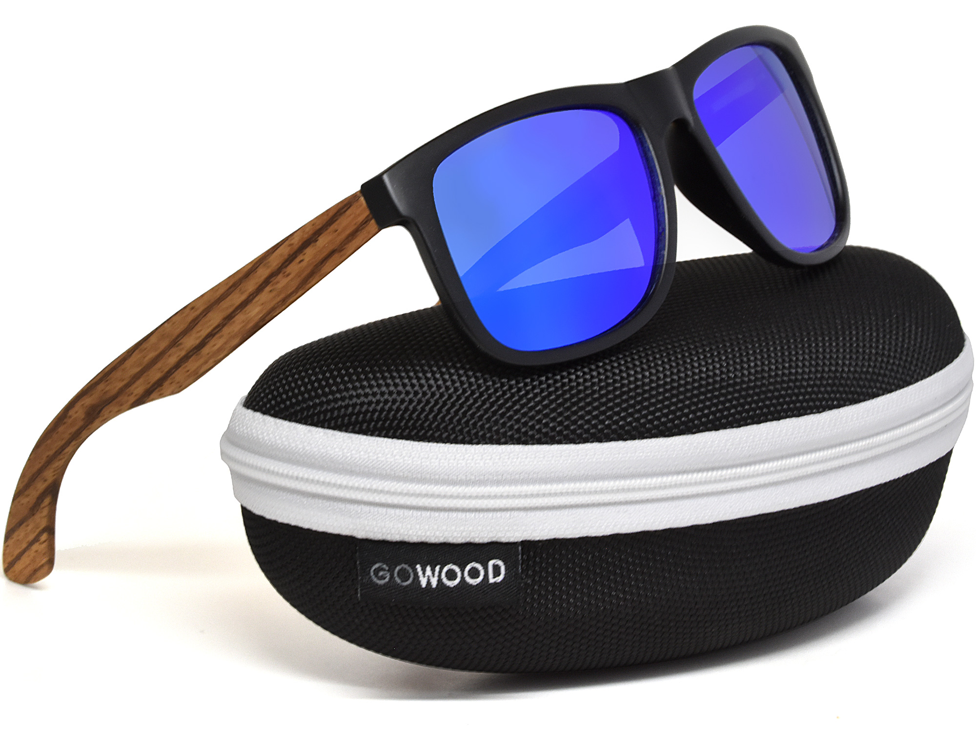 Square zebra wood sunglasses with blue mirrored polarized lenses in a zipper case