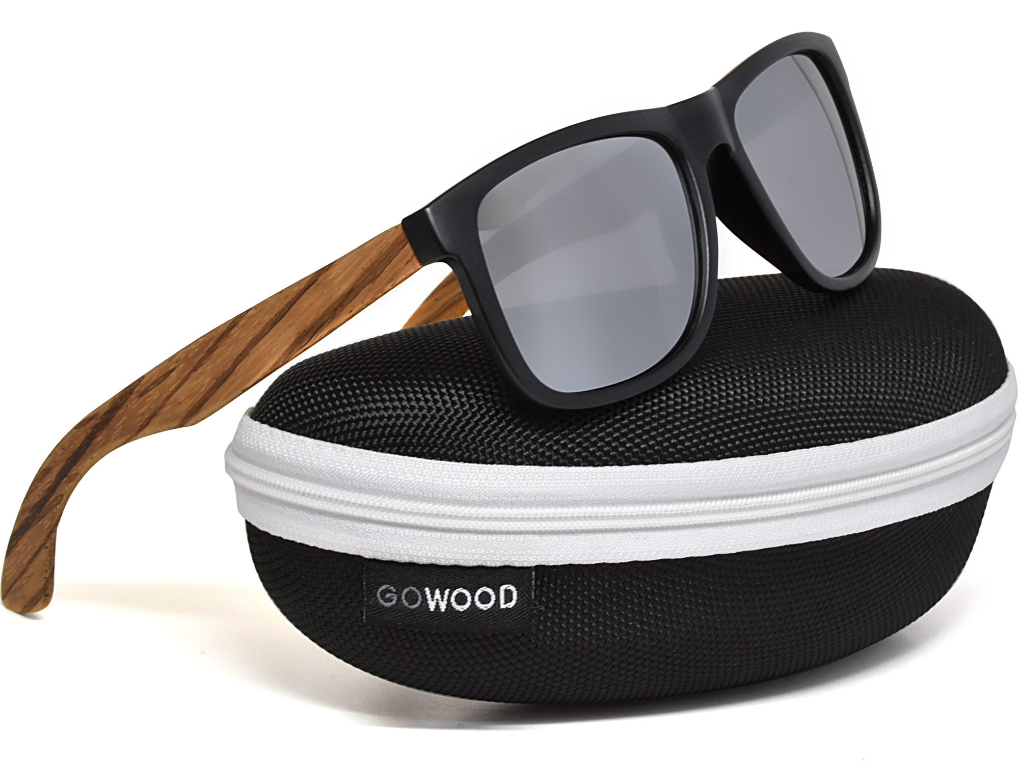 Square zebra wood sunglasses with silver mirrored polarized lenses in zipper case